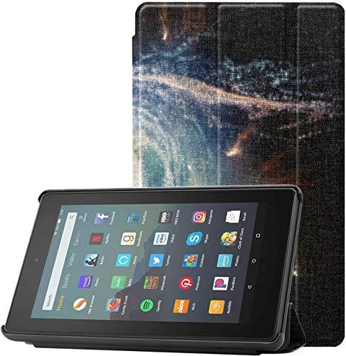 Funda para Kindle Fire 7 2019 Increíblemente hermosa espiral Galaxy Fire 7 Funda con función atril para tablet Fire 7 (9ª generación, 2019), ligera con función de encendido y apagado automático