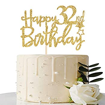 Gold Glitter Happy 32nd Birthday Cake Topper - 32 Cake Topper - 32nd Birthday Party Supplies - 32nd Birthday Party Decorations