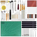 FEPITO 58 Pcs Leather Craft Tools Leather Working Tools Kit DIY Leather Sewing Tools for Leather Making Leather Craft DIY Tool