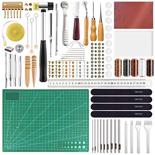 FEPITO 58 Pcs en Cuir Artisanat Outils DIY en Cuir À Coudre Outils pour La Main À Coudre Couture en Cuir Artisanat DIY Outil (Tools)