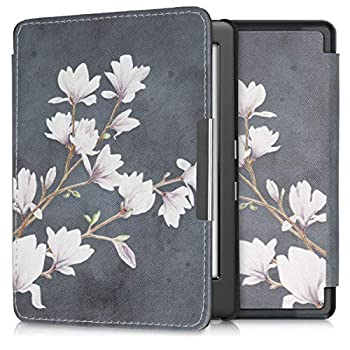 kwmobile Case Compatible with Kobo Glo HD/Touch 2.0 - Case e-Reader Cover - Magnolias Taupe/White/Dark Grey