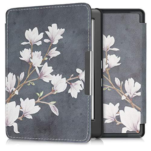 kwmobile Custodia compatibile con Kobo Glo HD/Touch 2.0 - Cover in simil pelle magnetica Flip Case per eReader marrone grigio/bianco/grigio scuro