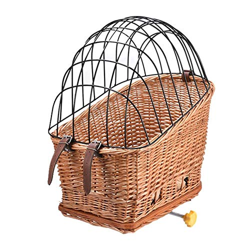 equival Pet Basket, Dog Bicycle Cage With Cover Bicycle Basket Rear Mount Willow, Willow Basket Small Pet Cat Dog Cage For Carrier Bike Removable Outdoor Shopping