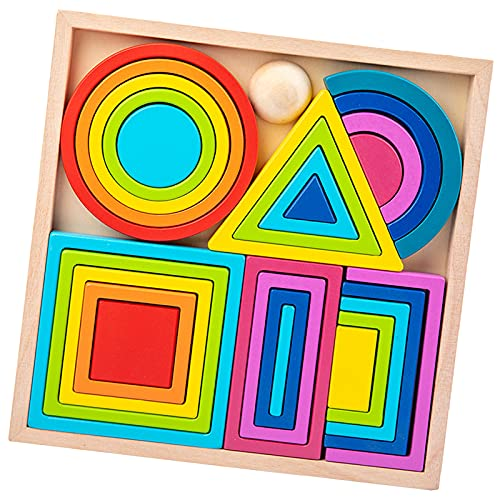 Hellery Niños Rainbow Nesting Building Blocks Puzzle Apilamiento Aprendizaje de Juguetes Geometry Building Blocks Juego de Equilibrio - Grande