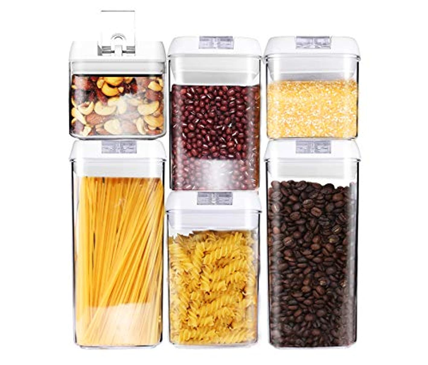 6 Piece Airtight Food Storage Containers - Kitchen Storage Set for Pantry Organization and Storage, Durable Plastic Storage Containers used for flour, pasta, as a Cereal Container! Air Tight!