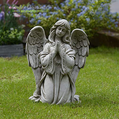 PRAYING ANGEL HAND CAST STONE ANGEL GARDEN ORNAMENT/STATUE/SCULPTURE/MEMORIAL