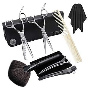 Tijeras Peluqueria Profesional para el cabello 9 en 1 kit, tijeras tijeras de peluquería, tijeras entresacar, clips, Peine, Caja, set corte de tijeras pelo profesional
