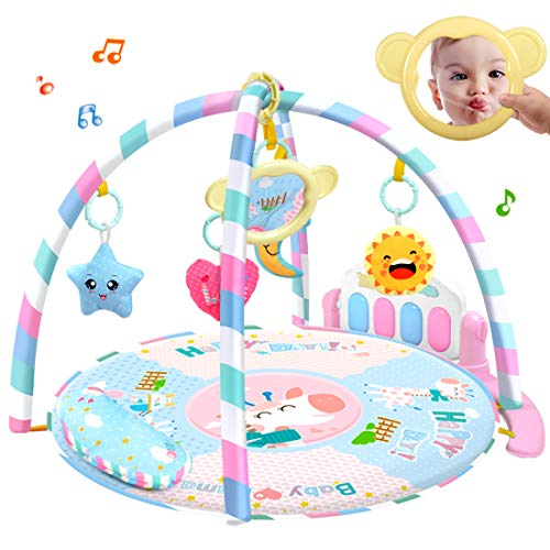 LVPY Manta de Juego , 3 en 1 Baby Piano Play Gym Play Mat Música y Luces, Juego y Gimnasio para bebés, Rosa