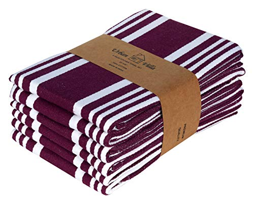 Urban Villa Kitchen Towels, Trendy Stripes,100% Cotton Dish Towels,Mitered Corners, (Size: 20X30 Inch), Wine/White Highly Absorbent Bar Towels & Tea Towels - (Set of 6)
