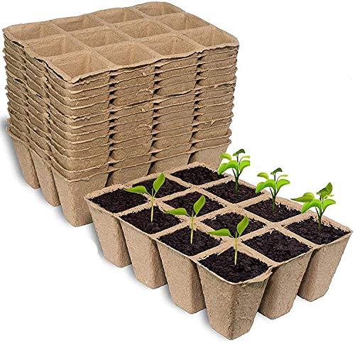 KAHEIGN 20 macetas de plántulas, 12 rejillas cuadradas de 4 cm, macetas de fibra biodegradables para trasplantar plantas, frutas, verduras (16 x 12 cm)