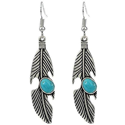 Lumanuby Pendientes Moda Retro pluma turquesa Colgante Earrings Mujer Pendiente para las mujeres regalos...