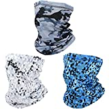 SUNLAND Breathable Gaiter Face Mask Neck Gaiter Scarf Dust Sun Protection Face Cover Windproof Ideal For Running Cycling Camouflage Gray Checkered Sapphire Blue Checkered White