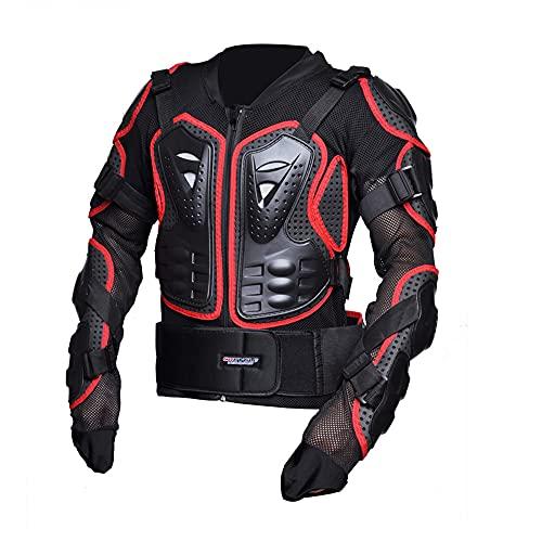 CYzpf Chaqueta de Moto Ropa Ligera y Transpirable Equipo Protección Abrigo Informal Motorcycle Jackets Exteriores Accesorios para Hombres,Red,M