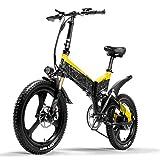 LANKELEISI Bicicleta eléctrica G650 Bicicleta de montaña de 20 Pulgadas 400W 48V Batería de Litio 7 velocidades Bicicleta Plegable 5 Pas Doble suspensión (Yellow, 14.5Ah)
