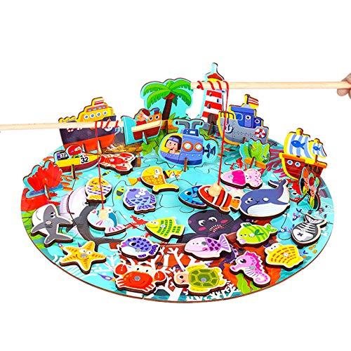 WFF Spielzeug Angeln Spielzeug, 3 in 1 Angeln Magnetpuzzle Spielzeug mit 24 PC-Puzzle, 20 Fische und 2 Angelruten for 1-6 Jahre Jungen Mädchen Lernspielzeug (Color : 1set)