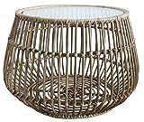 Bambees Collection - Mesa auxiliar redonda de mimbre tejida a mano para exterior o interior, incluye tapa protectora de cristal