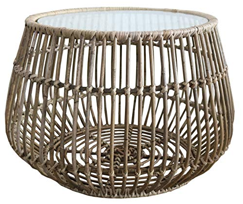 Authentic Handmade 63cm Woven Rattan Round Coffee Side Table Width for Outdoor or Indoor Living Room | Includes Protective Glass Top