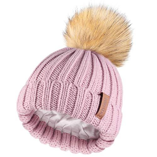 Kids Winter Knitted Pom Beanie Bobble Hat Faux Fur Ball Pom Pom Cap Unisex Kids Beanie Hat