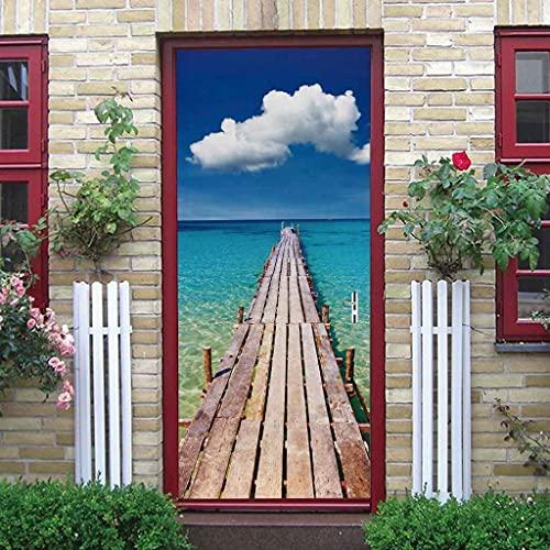 BARFPY 3D Etiqueta de Puerta Paisaje de puente de madera de playa azul para la puerta de renovación del arte mural de puerta vinilo calcomanía impermeable pared de la sala de estar Cocina dormitorio p