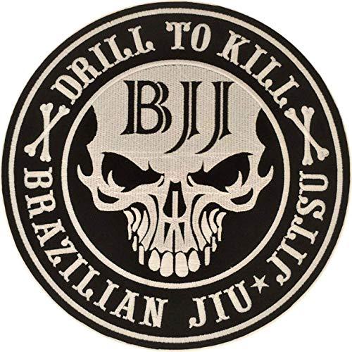 Jiu Jitsu Patch Drill to Kill – 4.7 inches Round sew on Patch for BJJ GIS Embroidery – Gifts for Jiu Jitsu