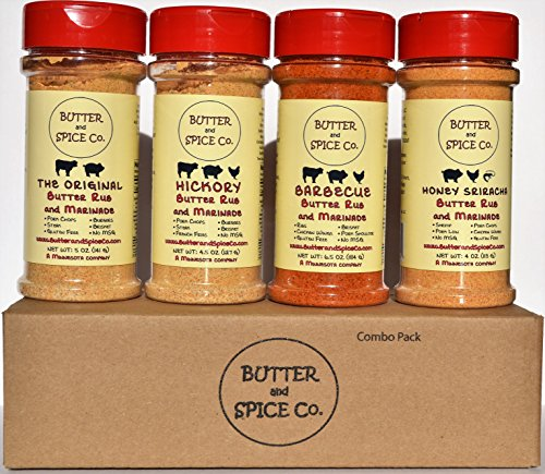 Butter and Spice Co. BBQ Enthusiast's Butter Rub Combo Pack- Spice Set for Pork Chops, Pork Ribs, Steak, Brisket, Burgers, Pot Roasts, Pork Shoulder and Pork Loin, Beef Ribs, Chicken and Turkey.