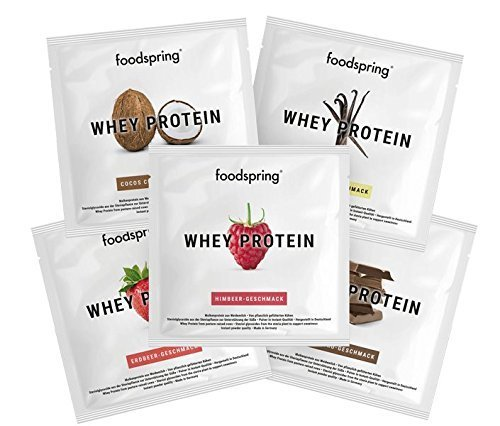 foodspring Whey Protein Pulver, 5er Probierpaket (5x30g), Eiweißpulver zum Muskelaufbau, Hergestellt in Deutschland