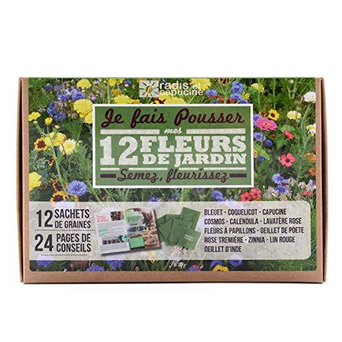 Radis et Capucine - Coffret graines fleurs du jardin - 12 sachets à semer