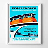 Disneyland Peoplemover People mover Tomorrowland Wall Art Poster Home Decor Print Vintage Artwork Reproduction - Unframed