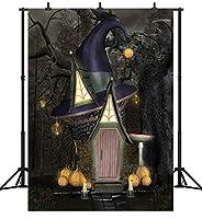 GooEoo 5×7FT(150×210CM)ハロウィーンテーマ魔女小屋カボチャランタンカスタマイズされたシームレスなビニール写真の背景写真の背景スタジオプロップPGT251A