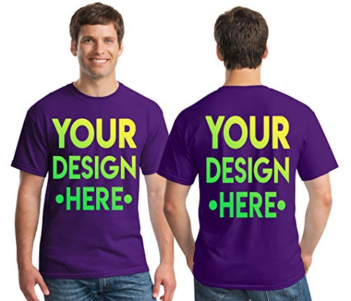 Custom 2 Sided T-Shirts - Design Your OWN Shirt - Front and Back Printing on Shirts - Add Your Image Photo Logo Text Number Purple