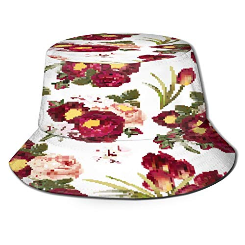 MAYUES Unisex Bucket Sun Hats Big Collection Set Realistic Vector Flowers Fashion Summer Outdoor Travel Beach Fisherman Cap