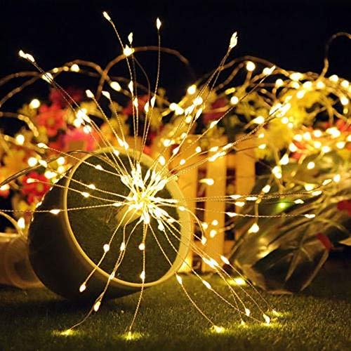NCNC Creative Christmas Decoration Starburst Solar Power Fairy Firework Lights Twinkle Light String Light Hanging Lamp(200 LEDs Warm White)