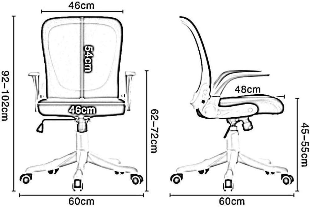 Chaise De Bureau Accueil Chaise Main Courante Rotative Chaise De Dortoir Étudiant Maille Résistante À l'usure Confortable Et Respirant-Gris_Blanc Noir Blanc