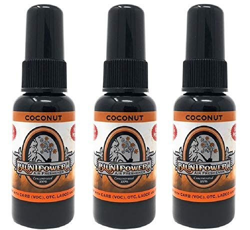 BluntPower 1 Ounce Bottle Oil Based Concentrated Air Freshener and Oil for Burner, Coconut (Pack of 3)