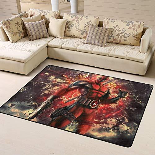 Sonickingmall Deadpool Teppich für Wohnzimmer, Schlafzimmer, Küche, Kinderzimmer, bequem, Art Deco, Polyester, 160 x 122 cm
