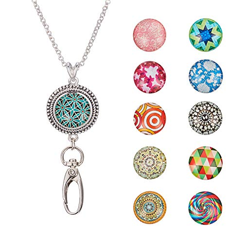 NBEADS 1 Pc Necklace Chain and 1 Pc Jewelry Snap Pendant and 20 Pcs Mosaic Printed Glass Cabochons for Women Office Lanyards ID Badges Keys Snap Button Jewelry Making, Mixed Color