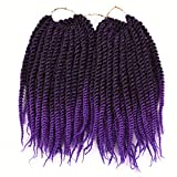 Synthetic Braids 24 Roots Kids Senegalese 10 Inch Twist For Kid Crochet Braiding Hair T1BPurple 10inches
