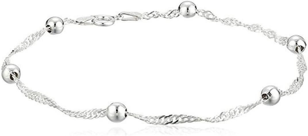 Sterling Silver Singapore Bracelet Dew Drops 7.5 inch Cute Chain