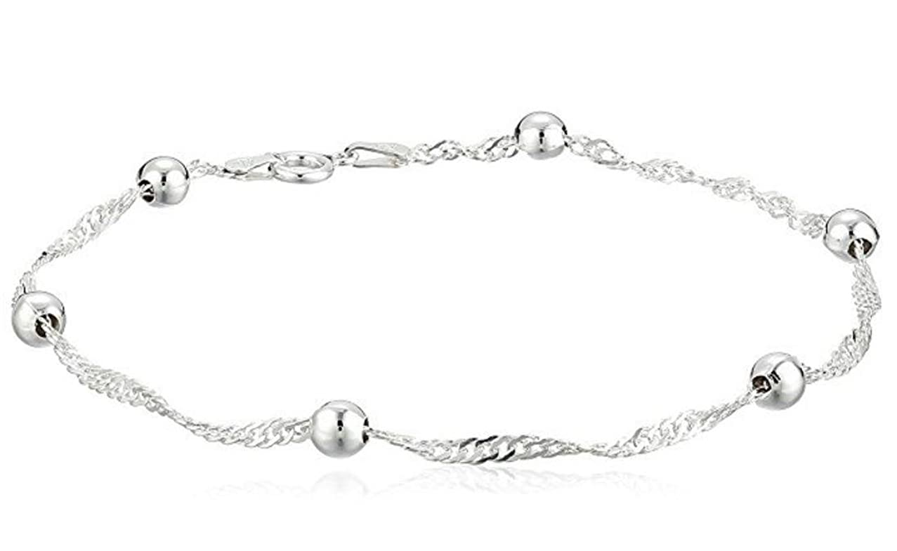 Sterling Silver Singapore Bracelet Dew Drops 7.5 inch Cute Chain 3mm Ball for Women Girls Anniversary Birthday Mother's Gifts SB6-C