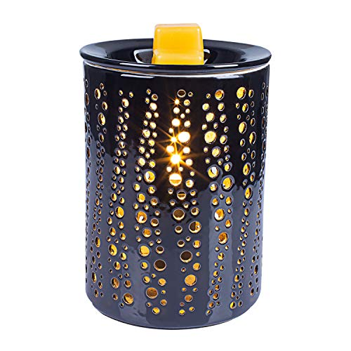 SUNPIN Black Ceramic Wax Warmer,Electric Fragrance Candle Warmer for Warming Scented Candles,Wax Melts - Spa,Aromatherapy