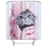X-Labor Tier Duschvorhang 240x200cm Wasserdicht Stoff Anti-Schimmel inkl. 12 Duschvorhangringe Waschbar Badewannevorhang 240x200cm Katze-B
