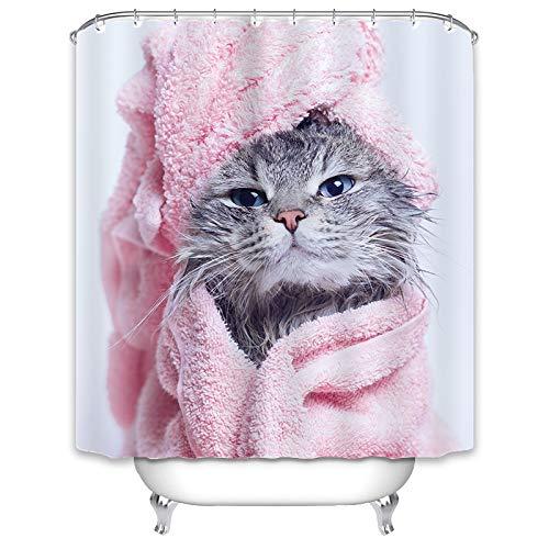 X-Labor Tier Duschvorhang 240x200cm Wasserdicht Stoff Anti-Schimmel inkl. 12 Duschvorhangringe Waschbar Badewannevorhang 180x200cm Katze-B