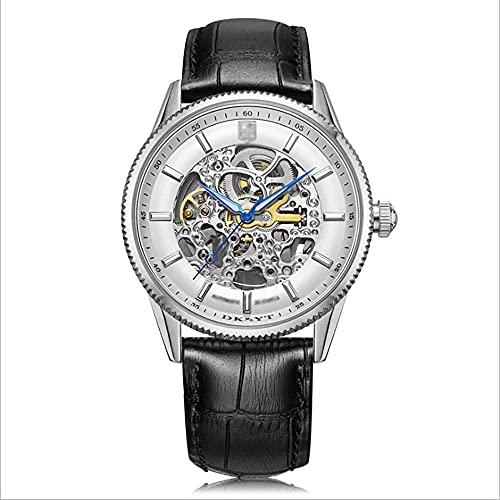 LITINGT Reloj mecánico automático para Hombre, Importado de Japón, Espejo Mineral, Espejo, Movimiento Luminoso Impermeable de 100 m.Reloj para Hombre de Marca de Alta Gama.(Color Plata)