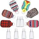 12 Pezzi Bottiglia Vuota da Viaggio e Portachiavi Set Include 6 Bottiglie Riutilizzabili con Tappo a Scatto 6 Bottiglie Riutilizzabili Portachiavi per Pulizia delle Mani