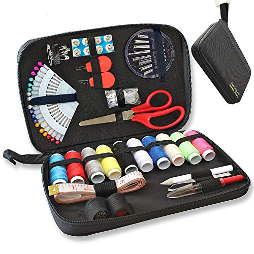 Sewing KIT - 90 Quality Easy Access Essential Sewing Supplies, Packed with Longer Spools of Thread, Scissors, Includes Easy to Thread Needle, Perfect...