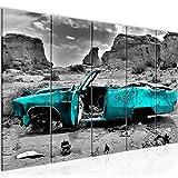 Bilder Auto Grand Canyon Wandbild 200 x 80 cm Vlies - Leinwand Bild XXL Format Wandbilder Wohnzimmer Wohnung Deko Kunstdrucke Türkis 5 Teilig - MADE IN GERMANY - Fertig zum Aufhängen 602255b
