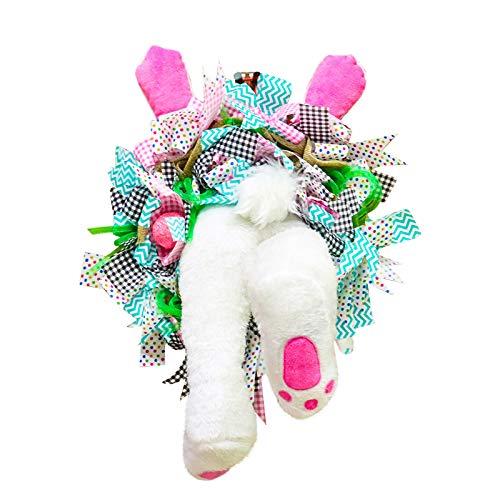 Decoración para puerta de pascua, conejos y orejas, corona de 40 cm, para colgar al aire libre, placa de bienvenida, corona anexo