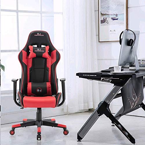 Gharpbik Gaming Stuhl Racing Bürostuhl Schreibtischstehl Drehstuhl Sportsitz Chefsessel (Rot)