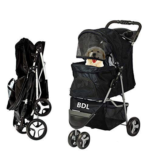 Pet Stroller for Cats/Dogs, Zipperless Entry, Easy Fold with Removable Liner, Storage Basket w/Cup Holder and RainCover (Three Wheels, Black)