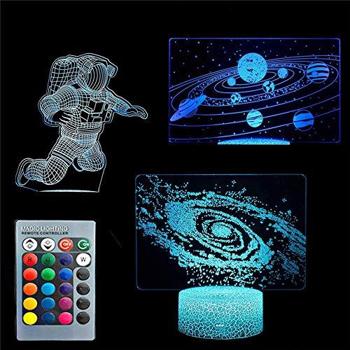 3D ilusión luz solar sistema universo Spaceman Galaxy 3D lámpara 16 colores regulable USB Powered control táctil con control remoto, regalos creativos para niños de 10 años
